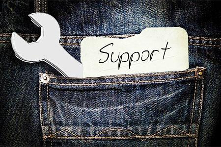 ポケットから出たサポートの文字